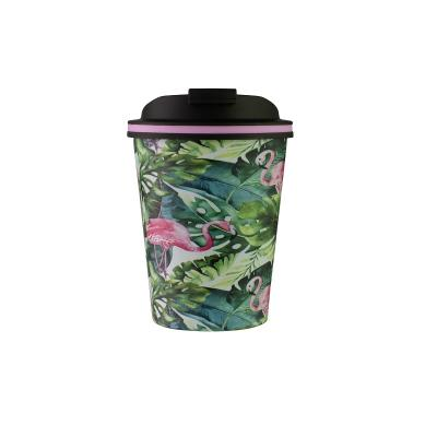 Avanti Go Cup Double Wall Stainless Steel Travel Cup 280ml  - Flamingo Leaf