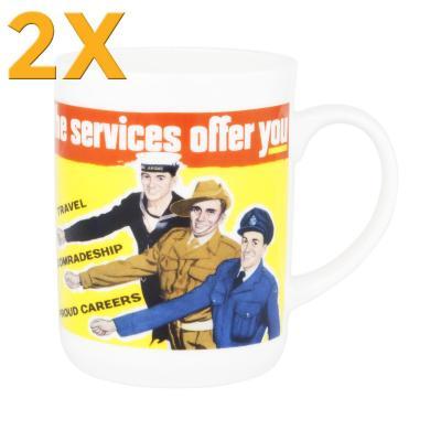 2x Ashdene Classic Wartime Collection Mug - Servicemen