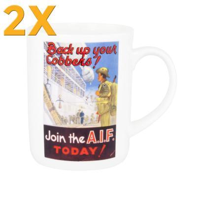 2x Ashdene Classic Wartime Collection Mug - AIF