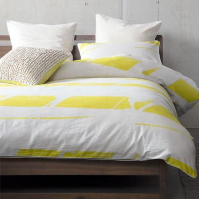 KAS Broken Stripe Yellow King Size Quilt Cover