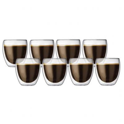 Bodum Pavina Insulated Double Wall Thermo Glasses 250ml | Set of 8 Tumblers