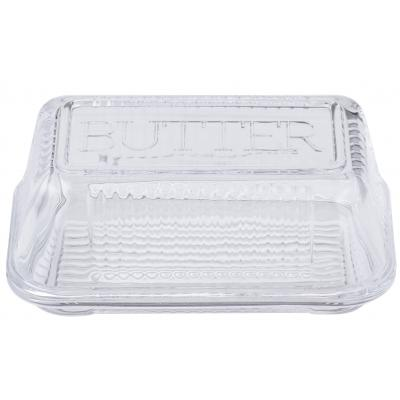 Davis & Waddell Retro 17cm Butter Dish Glass Storage Serving Container Clear