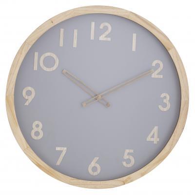 Amalfi Riley Pine Wood Glass Decorative Modern Wall Clock 50x50cm | Natural/Grey