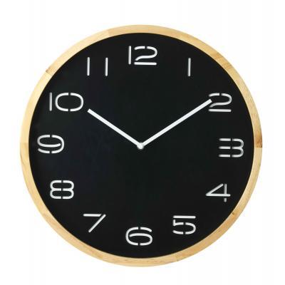 Amalfi Leni Analogue Pine Wood/Glass Wall Clock 41.5x5x41.5cm | Black