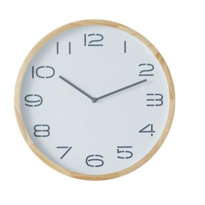 Amalfi Leni Analogue Pine Wood/Glass Wall Clock 41.5x5x41.5cm | White