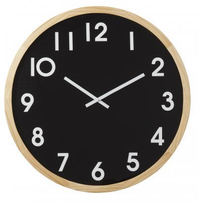 Amalfi Leonard Pine Wood Glass Minimalist Large Wall Clock 61x6x61cm| Black