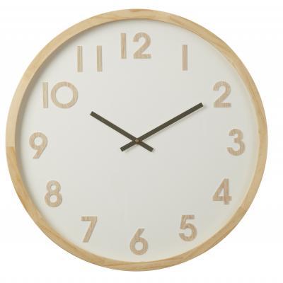 Amalfi Leonard Pine Wood Glass Minimalist Large Wall Clock 61x6x61cm| White