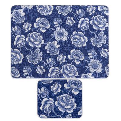 Ashdene Indigo Blue Roses Placemats and Coasters Set of 8pcs