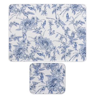 Ashdene Indigo Blue Hummingbird Placemats and Coasters Set of 8pcs