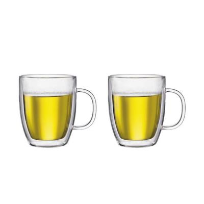 Bodum Bistro Jumbo Mug Insulated Double Wall 450ml | Set of 2 Borosilicate Glass