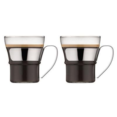 Bodum Assam Borosilicate Tea Coffee Glass With Steel Handle 300ml | Set of 2 Glasses