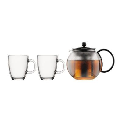 Bodum Assam Set | Tea Pot Press 1.0L with Stainless Steel Filter + 2 Mugs
