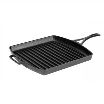 Blacklock by Lodge 12 Inch 30cm Cast Iron Square Grill Pan | Triple Seasoned Light Weight