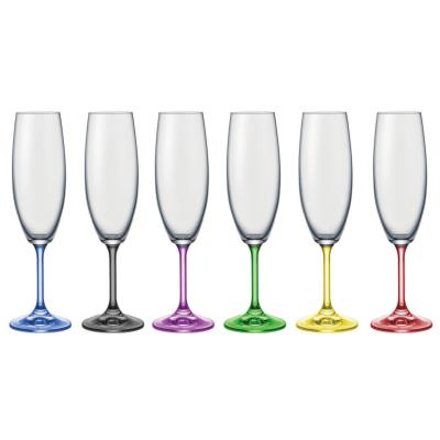 Bohemia Crystal Rainbow multi-coloured Champagne Glasses 190ml / 6pcs