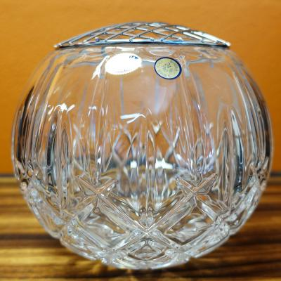 Bohemia Crystal Sheffield Rose Bowl 20.5cm with wire flower holder