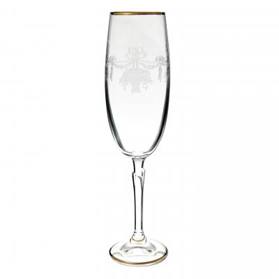 Bohemia Crystal Celebration Gold Rim Champagne Glass Flute 2pcs