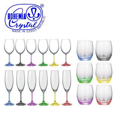 Bohemia Crystal Rainbow multi-coloured 18pcs Bundle - Wine, Champagne, Tumblers