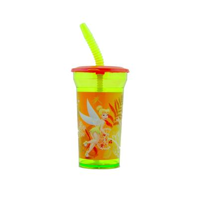 Disney Fairies Cup with Straw Girls Tinkerbell Large Plastic Cup New Licensed