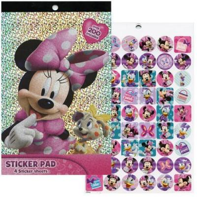 Disney Minnie Mouse Sticker Pad 4 pages 200+ Minnie Stickers Licensed
