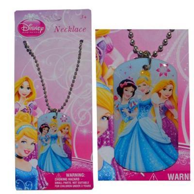 Disney Princess Girls Dog Tag Necklace New Licensed  Rapunzel Cinderella Snow White