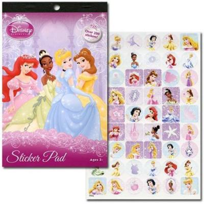 Disney Princess Sticker Pad 4 pages 200+ Princess Stickers Licensed