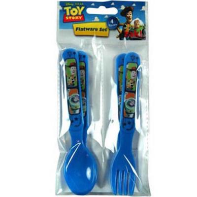 Disney Toy Story Fork and Spoon Set 4 piece Plastic Cutlery New Licensed BPA free