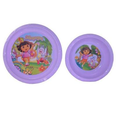 Dora the Explorer Plate Bowl Set Girls Plastic Dinner Plate & Bowl New Licensed BPA free