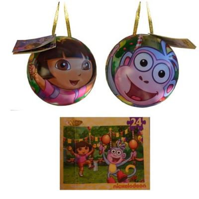 Dora the Explorer Jigsaw Puzzle in a Tin Christmas Tree Ornament New Licensed
