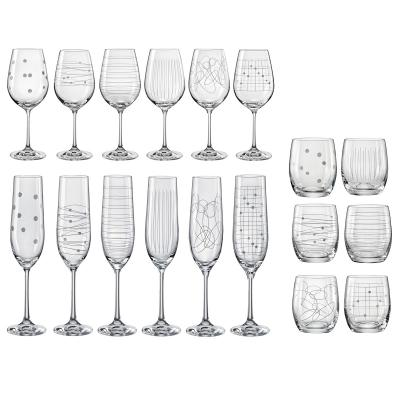 Bohemia Crystal Elements 18pcs Set - Wine, Champagne and Tumbler