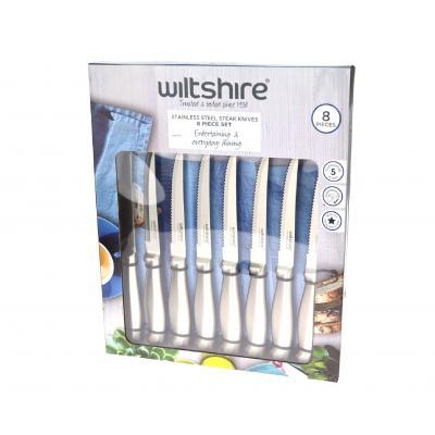 Wiltshire Stainless Steel Serrated Steak Knife Set | Set of 8