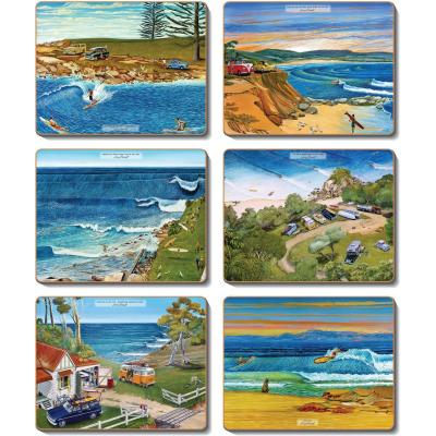 Cinnamon Surf Safari Cork Backed Coasters | Set of 6pcs