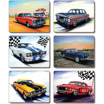 Cinnamon Muscle Cars Cork Backed Coasters | Set of 6pcs