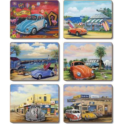 Cinnamon VW Volkswagen Bugs Cork Backed Coasters | Set of 6pcs