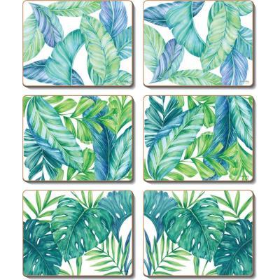 Cinnamon Tropical Leaves Cork Backed Coasters | Set of 6pcs