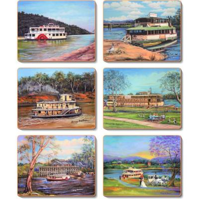 Cinnamon Paddle Steamers Cork Backed Coasters | Set Of 6pcs