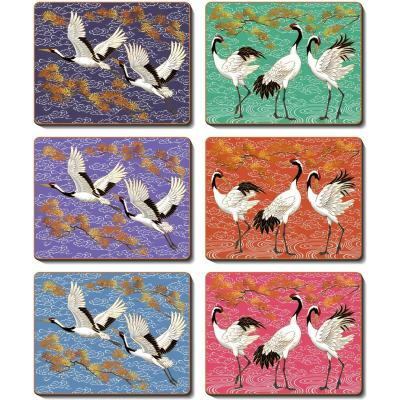 Cinnamon Cranes Cork Backed Coasters | Set of 6pcs
