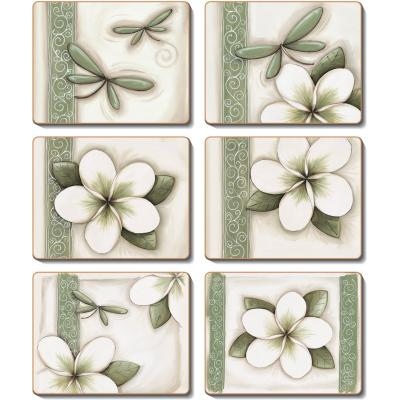 Cinnamon Green Frangipani Coasters