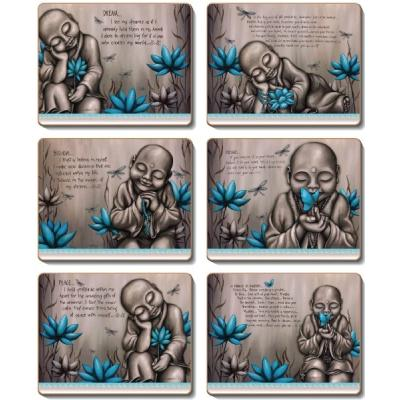 Cinnamon From The Soul Monk Blue Cork Backed Coasters | Set of 6pcs