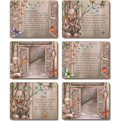 Cinnamon Pathways Of Life Cork Backed Coasters | Set of 6pcs