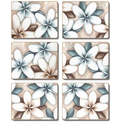 Cinnamon Ocean Frangipani Cork Backed Placemats | Set of 6pcs