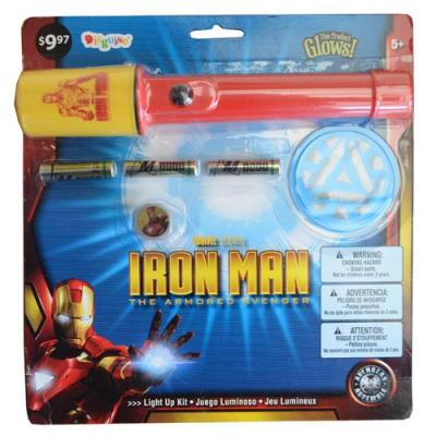 Iron Man Light Up Kit Flashlight Ring Badge Set New Licensed