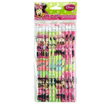 Disney Minnie Mouse Lead Pencils with Eraser Top 12 Pack