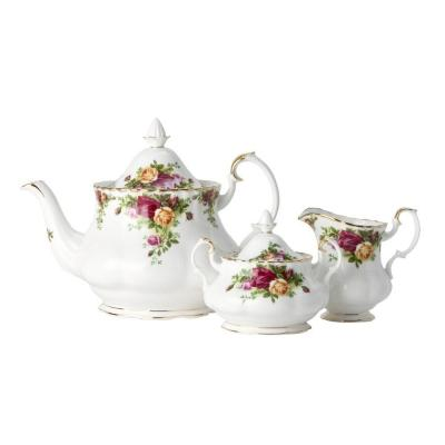 Royal Albert Old Country Roses Teapot/Sugar/Creamer Set