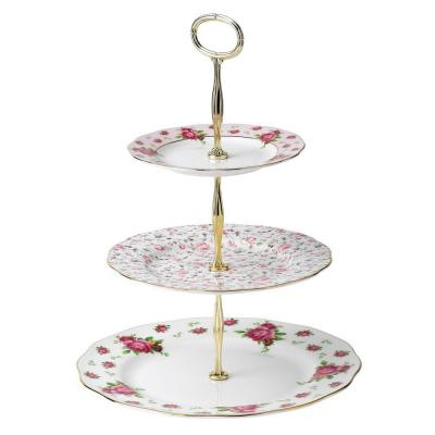 Royal Albert New Country Roses White Vintage 3 Tier Cake Stand