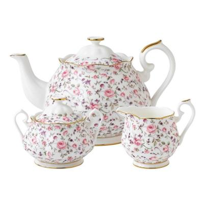 Royal Albert Rose Confetti Teapot/ Sugar/ Creamer Set