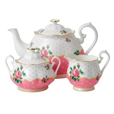 Royal Albert Cheeky Pink Teapot Sugar Creamer Set