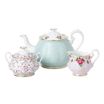 Royal Albert Modern Vintage Teapot, Cream and Sugar