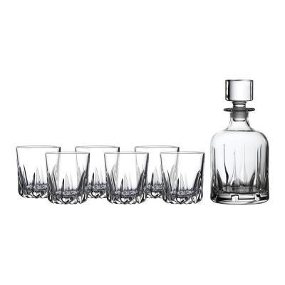 Royal Doulton Mode Whiskey Crystalline Decanter Set: Decanter & 6 Tumblers