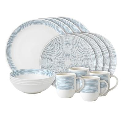 Royal Doulton ED Ellen DeGeneres 16pcs Dinner Ware set Polar Blue Dots