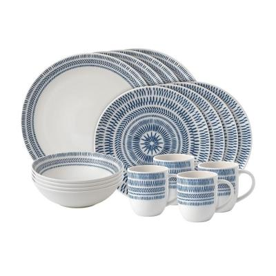 Royal Doulton ED Ellen DeGeneres 16pcs Dinner Ware Set Cobalt Blue Chevron